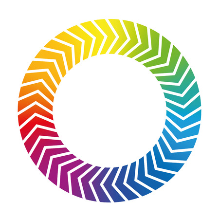 to revolve: Spinning ring icon. Rainbow colored isolated vector illustration on white background. Illustration