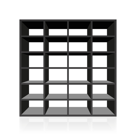 cubby: Black empty rack or bookshelf with twenty four cubbyholes. Isolated vector illustration on white background. Illustration