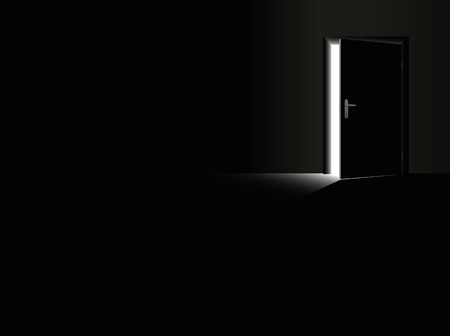 dark room: Darkness - black room with a half open door and a glimmer of light coming in