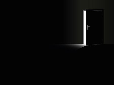 puerta abierta: Oscuridad - Sala de negro con una puerta abierta a la mitad y un rayo de luz que entra Vectores