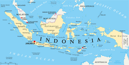 Indonesia political map with capital Jakarta, national borders and important cities. English labeling and scaling. Illustration.