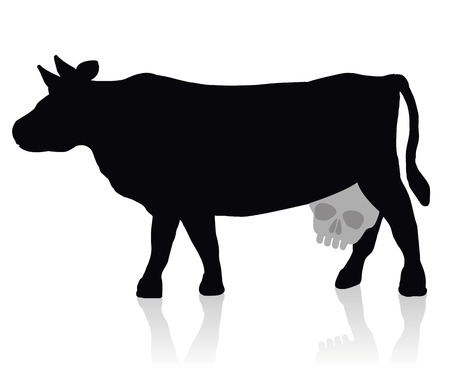 dioxin: Cow with a skull instead of an udder - a symbol for unhealthy milk and dairy products. Isolated vector illustration on white background.
