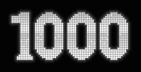 1000, formed to a jubilee number by exactly one thousand shiny silver platelets - isolated vector illustration on black background.
