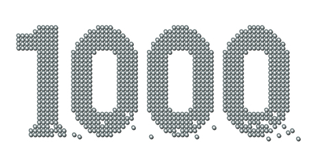 counted: THOUSAND - composed of exactly counted one thousand iron balls, some are rolling away - isolated vector illustration on white background. Illustration
