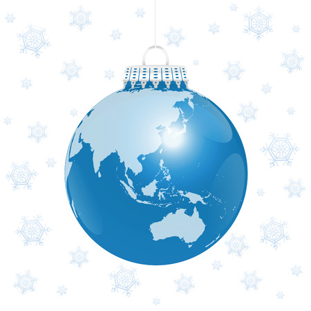 world globe: Christmas tree ball blue planet earth Illustration