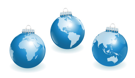 wereldbol: Blue christmas tree balls with three different angles of the world.  Stock Illustratie