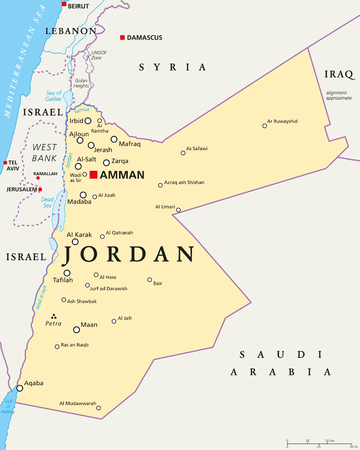 Jordan political map with capital Amman, national borders, important cities, rivers and lakes. English labeling and scaling. Illustration. Vettoriali
