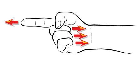 -Dedo apuntando - Cuando se señala un dedo, hay tres dedos apuntando de nuevo a usted. Ilustración vectorial aislados en fondo blanco.