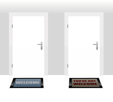 banish: Two doormats lying in front of two doors - one says WELCOME, the other says YOURE NOT WELCOME - as a symbol for hospitality and rejection. Vector illustration.
