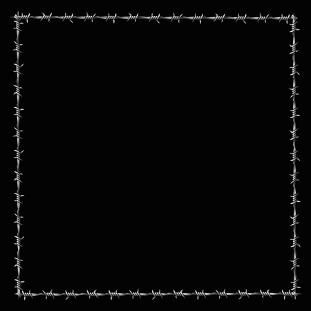 Barbwire forming a square fence or border or boundary. Vector illustration on black background. Illustration