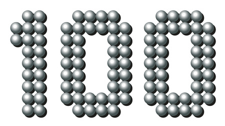 exact: HUNDRED - composed of exactly counted one hundred iron balls - isolated three-dimensional vector illustration on white background.