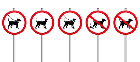 concerning: Mandatory signs concerning dogs - like dogs on leash, wearing muzzles, dog dirt, no dogs allowed. Isolated vector illustration on white background.