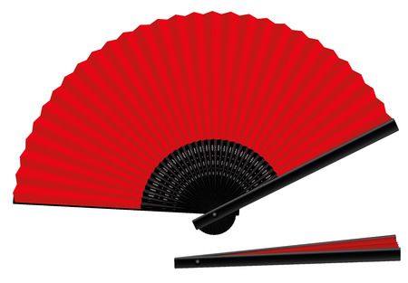 close out: Hand fan - red an black - open and closed - spanish style - three-dimensional - realistic. Isolated vector illustration on white background.