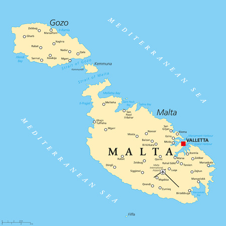 Malta political map with capital Valletta and important cities. English labeling and scaling. Illustration.