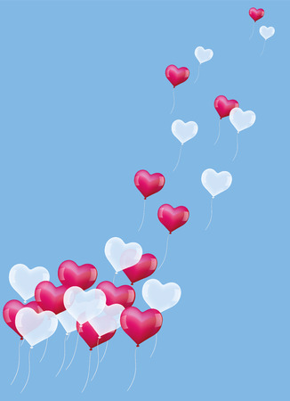soaring: Heart shaped balloons soaring into the air. Vector illustration on blue background.