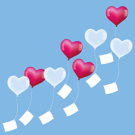 wedding heart: Heart shaped balloons with blank letters are sent out to come true at valentines day, birthday or during a wedding celebration. Vector illustration on blue background.