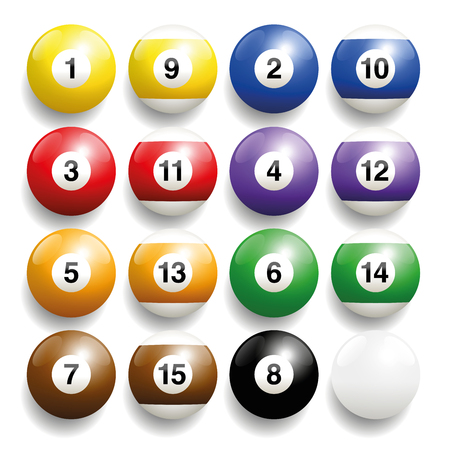 billiards cue: Billiard balls - commonly used colors. Three-dimensional and realistic looking, isolated vector illustration on white background.