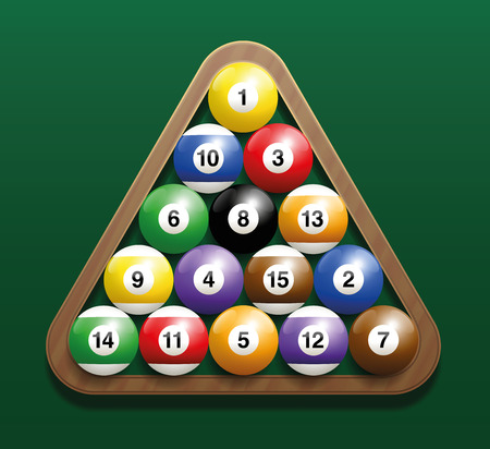 8 ball pool: Pool billiard balls in a wooden rack - commonly used starting position. Three-dimensional isolated vector illustration on green gradient background.