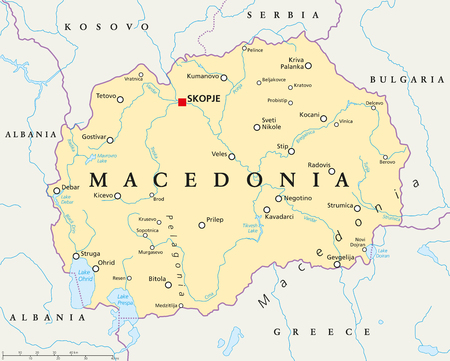 landlocked country: Macedonia political map with capital Skopje, national borders, important cities, rivers and lakes. English labeling and scaling. Illustration.