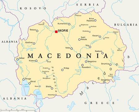mapa politico: mapa político con Macedonia Skopje, capital de las fronteras nacionales, ciudades importantes, ríos y lagos. Inglés etiquetado y descamación. Ilustración.