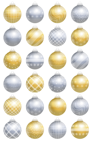 ornaments vector: Christmas balls, gold silver, glossy, different ornaments and patterns, twenty-four items, for an advent calendar - isolated vector illustration over white background. Illustration