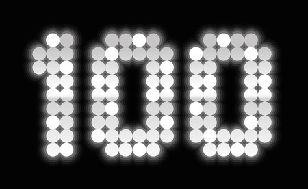 0 1 year: HUNDRED - anniversary number, exactly one hundred shiny silver platelets - illustration on black background. Illustration
