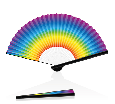 open fan: Hand fan - rainbow colored - for Carnival, Fasching and Mardi Gras. Isolated vector illustration on white background.