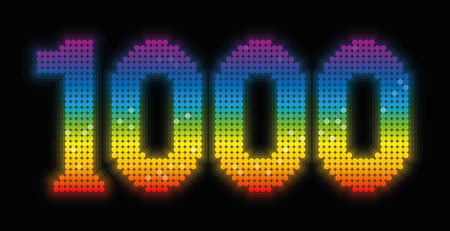 counted: THOUSAND - anniversary jubilee number, exactly one thousand counted rainbow colored platelets - illustration over black background.