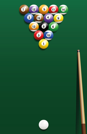 starting: Billiard break shot, start off - commonly used starting position. Three-dimensional isolated vector illustration on green gradient background.