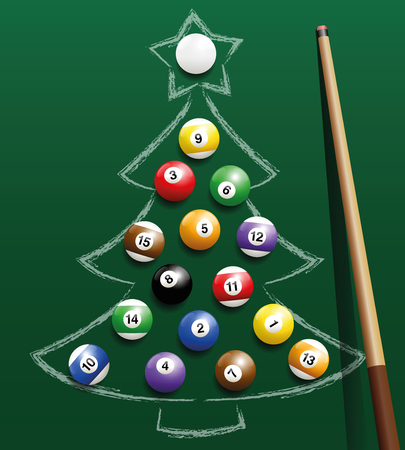 Pool billiard balls representing christmas balls on a chalk drawing. Three-dimensional isolated vector illustration on green gradient background.