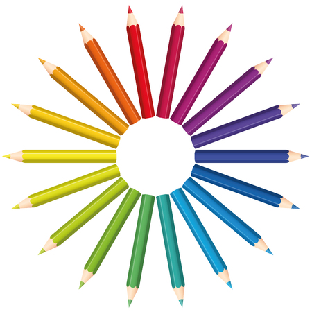 color: Colored pencils that form a rainbow colored color fan circle. Isolated vector illustration over white background.