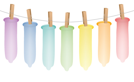 Condoms, seven colorful rubbers hung up on a clothes line rope. Illustration on white background.