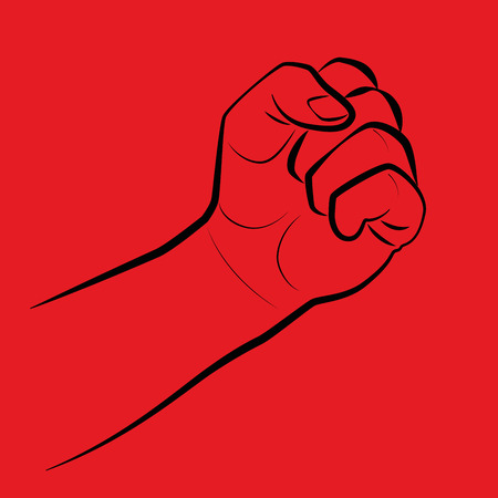 hand beats: Clenched fist, threatening gesture. Illustration on red background. Illustration