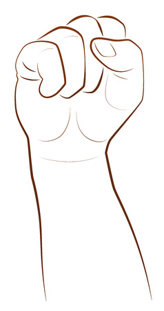 thrash: Fist - win and triumph gesture. Illustration on white background.