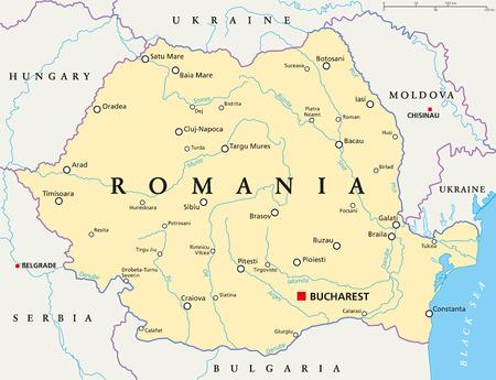 mapa politico: mapa político con Rumania, Bucarest de capital de las fronteras nacionales, ciudades importantes, ríos y lagos. Inglés etiquetado y descamación. Ilustración.