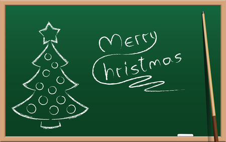 written: Merry christmas, written on a school chalkboard, plus christmas tree, as a symbol for christmas holidays. Illustration on green gradient background with wooden frame. Illustration