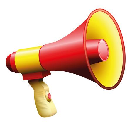 megafono: Megáfono o megáfono, rojo y amarillo, con asa y en el botón. Ilustración sobre fondo blanco.