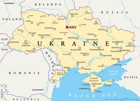 Ukraine political map with capital Kiev Stock Illustratie