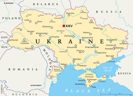Ukraine political map with capital Kiev Ilustracja