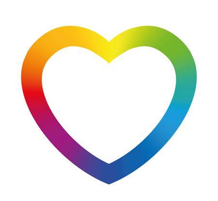 arc en ciel: Cadre de coeur de couleur arc-en-