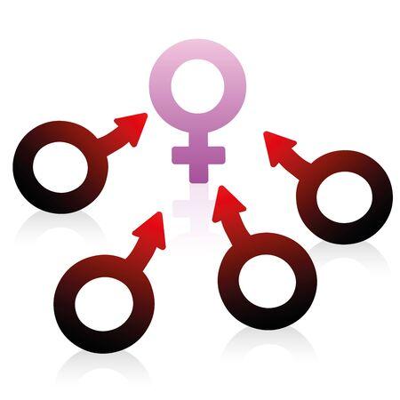 simbolo uomo donna: Lussuria, il desiderio e la voglia rappresentate da simboli maschili e femminili Vettoriali