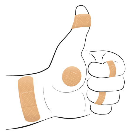 sore: All right - thumbs up gesture with five adhesive plasters