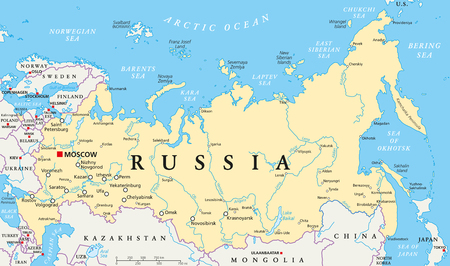 Russia political map with capital Moscow