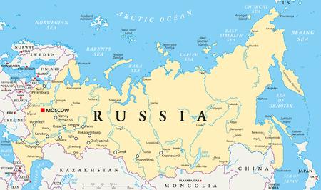 mapa politico: Mapa político de Rusia con un capital de Moscú Vectores