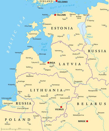 baltic: Baltic countries political map