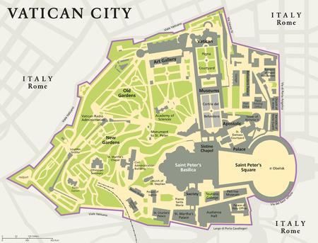 enclave: Vatican city political map Illustration
