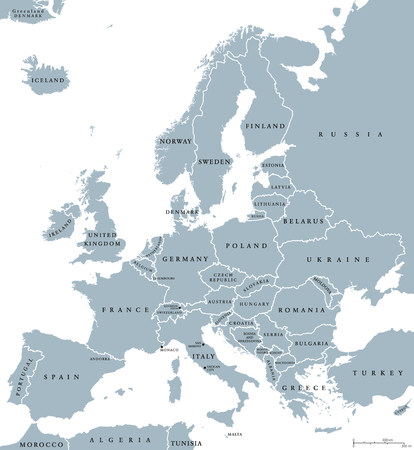 Europe countries political map with national borders and country names Illustration