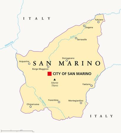 san marino: San Marino political map with capital City of San Marino Illustration
