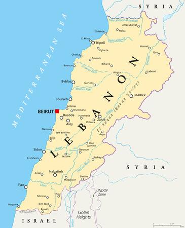 political map: Mapa pol�tico del L�bano con el capital Beirut