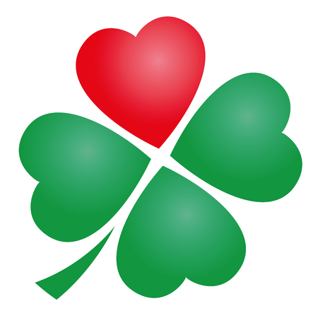 Four leaved clover with one red heart. Illustration over white background.